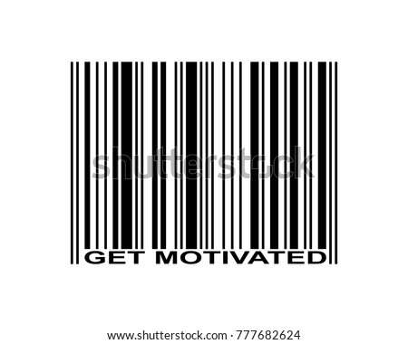 Get motivated word and barcode icon