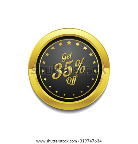 Get 35 percent Golden Vector Icon Button