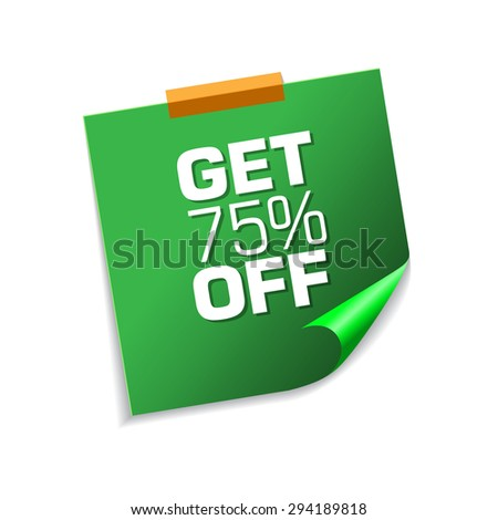 Get 75 Percent Green Sticky Notes Vector Icon Design