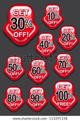 Get Percent Off Arrow / Icon - stock vector