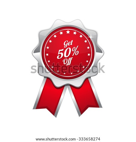 Get 50 Percent Red Vector Icon Design