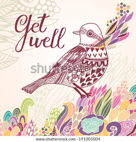 Get well concept card in bright colors. Stylish vector background with vintage bird and colorful burst - stock vector