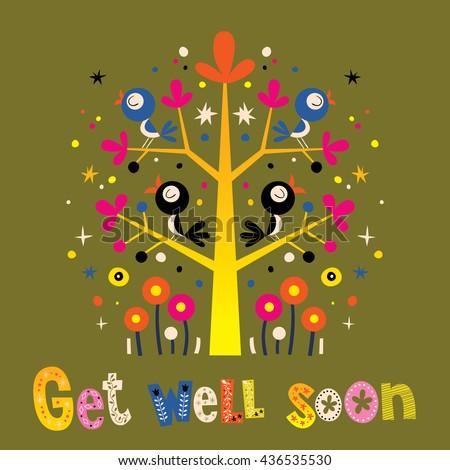Get well soon card with cute birds - stock vector