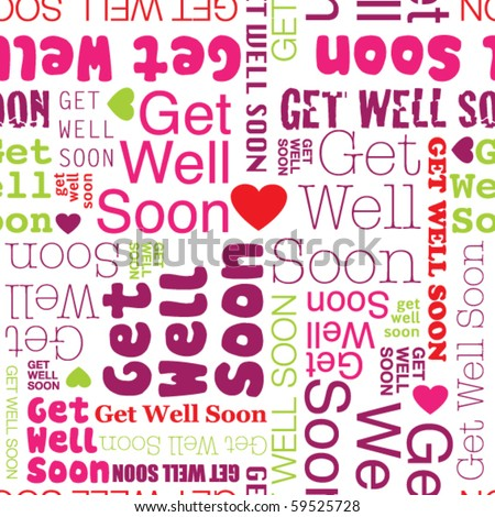 Get well soon seamless background pattern in vector - stock vector