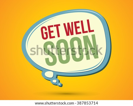 Get well soon text in balloons graphic vector.