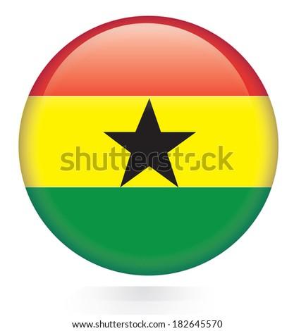 Ghana flag button - stock vector
