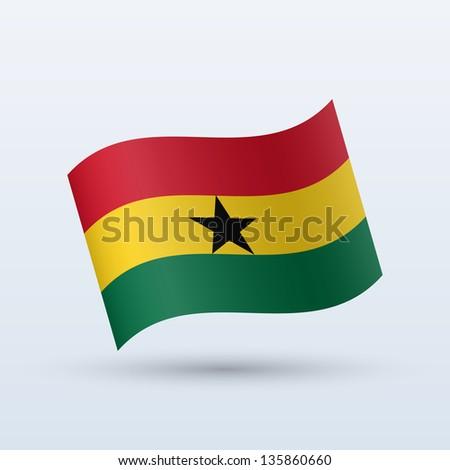 Ghana flag waving form on gray background. Vector illustration. - stock vector