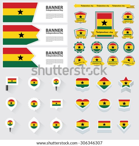 ghana independence day, infographic, and label Set.