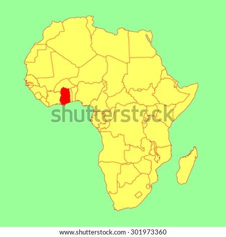 Ghana vector map isolated on Africa map. Editable vector map of Africa.  - stock vector