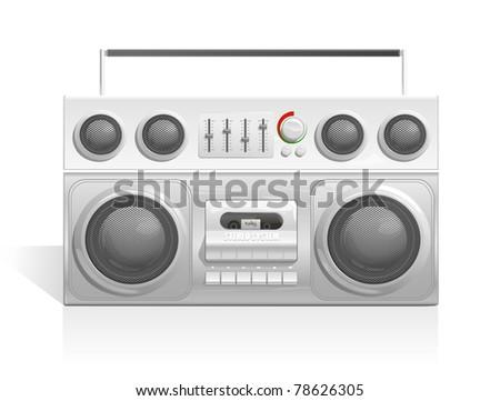 ghetto blaster audio cassette player icon - stock vector