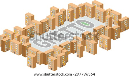 Ghetto district. Building in form of letters. Vector illustration. A poor district on outskirts  - stock vector