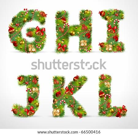 GHIJKL, vector christmas tree font - stock vector