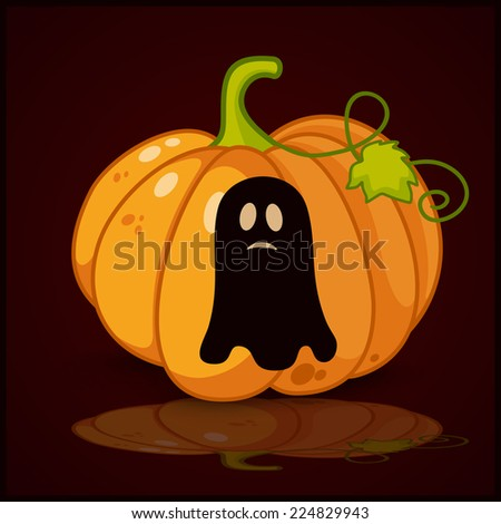 ghost, banner and background for pumpkins for Halloween