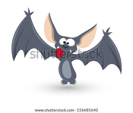 ghost bat funny - Halloween vector illustration - stock vector