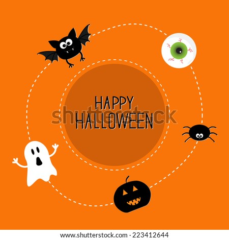 Ghost, bat, spider, eye, pumpkin. Happy Halloween set. Card in flat design style. Vector illustration - stock vector