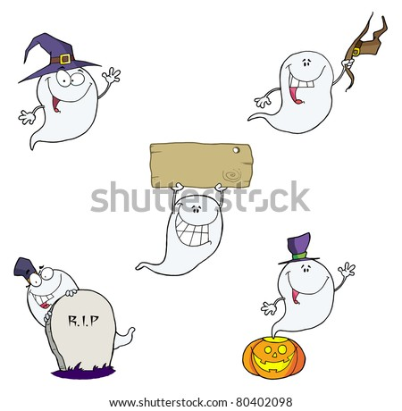 Ghost Cartoon Characters-Vector Collection - stock vector