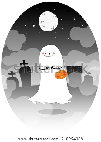 Ghost doing trick or treat on Halloween.
