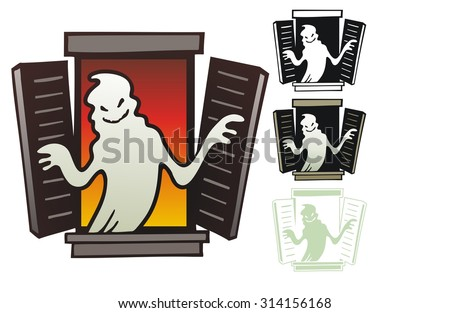 Ghost in the window of a haunted house - stock vector