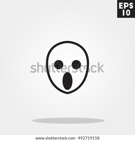 Ghost monster face halloween icon in trendy flat style isolated on grey background. Id card symbol for your design, logo, UI. Vector illustration, EPS10.