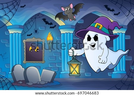 Ghost with hat and lantern theme 6 - eps10 vector illustration.