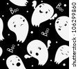 Ghosts Seamless Pattern, pattern in cartoon style.halloween . black and white - stock vector