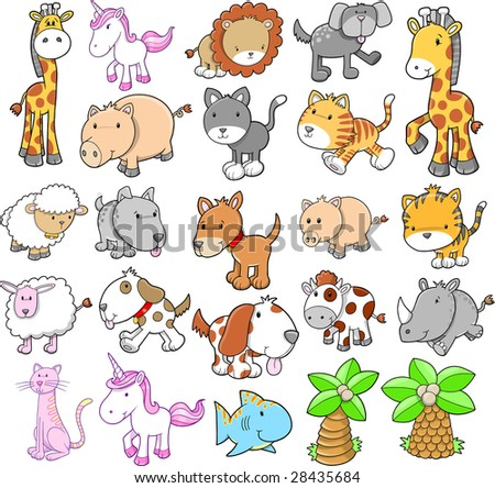 Giant Animal Set Vector Illustration - stock vector