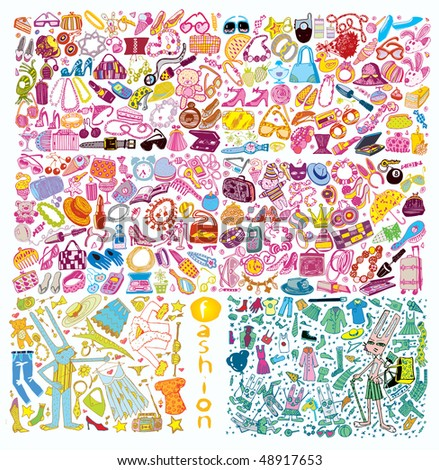 Giant Colorful Fashion Vector Set - stock vector