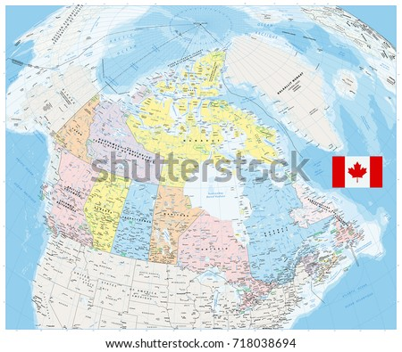 Giant Detailed Political Map Canada Cities Stock Vector - The political map of canada