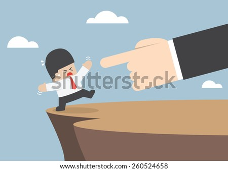 Giant hands push businessman and make him fall from cliff, VECTOR, EPS10 - stock vector