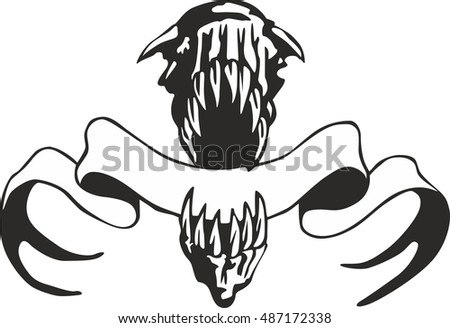 Giant jaws with a streamer. Vector template for an emblem.