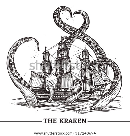 Giant octopus catches old style sail ship hand drawn vector illustration - stock vector