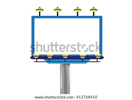 Giant Outdoor Billboard with lights Isolated. Advertising Industry Frame. Editable Clip Art.