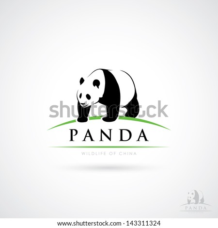 Giant Panda label - vector illustration - stock vector