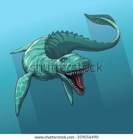 Giant prehistoric sea monster of dinosaur age. - stock vector