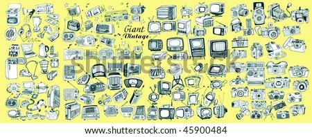 Giant Retro Technic Collection (vector) - stock vector