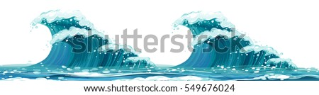 Giant waves on white background illustration