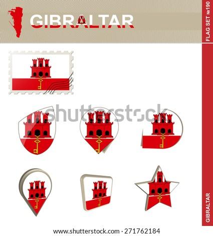 Gibraltar Flag Set, Flag Set #190. Vector. - stock vector