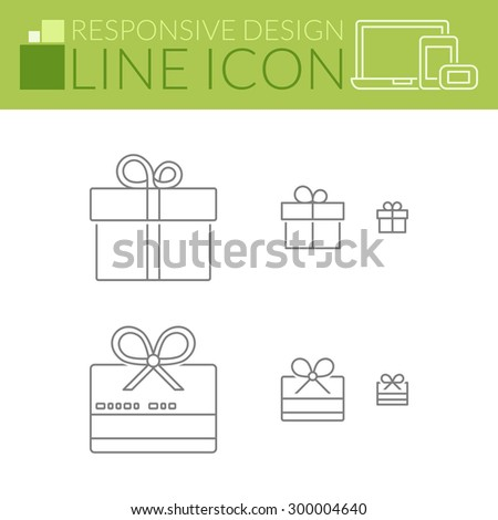 Gift and giftcard. Thin line icons. Responsive design for all devices. - stock vector