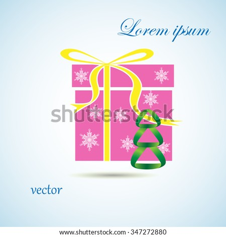 gift and spruce icon  - stock vector