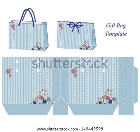 Gift Bag template, Vector illustration with stripes and colorful bubbles. - stock vector