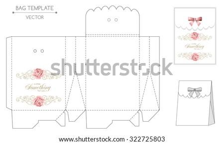 Gift Bag Template Hand Drawn Roses Stock Vector 322725803 - Shutterstock