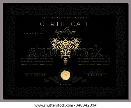 Gift black luxury Certificate / diploma / award template with border as celtic pattern and golden elements in vector - stock vector