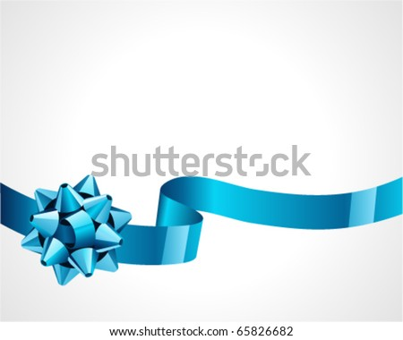 Gift blue bow vector background - stock vector
