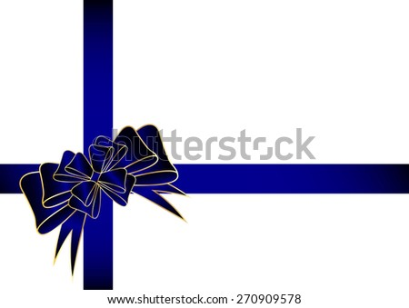 Gift bow with blue ribbons - stock vector