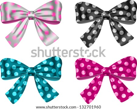 Gift bows for festive decorations. Vector illustration