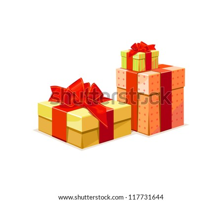 Gift Box: A gift box in 3 color versions - stock vector