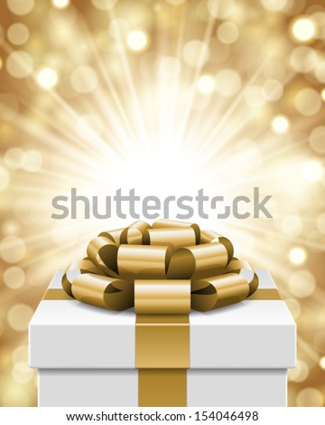 Gift box and light christmas vector background. Card or invitation. Eps 10. - stock vector