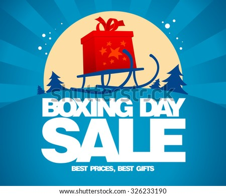 Gift box and sled against winter landscape, Boxing day sale design. - stock vector
