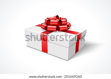 Gift box and with red bow and ribbon vector template isolated on white background  - stock vector