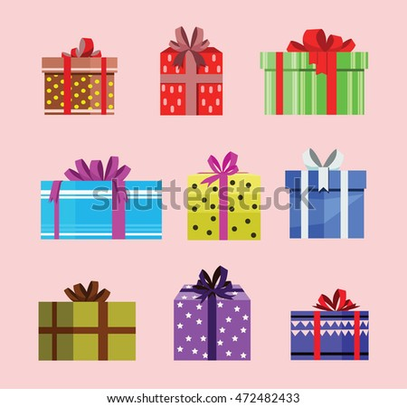 gift box birthday set present with different pattern. vector illustration 61